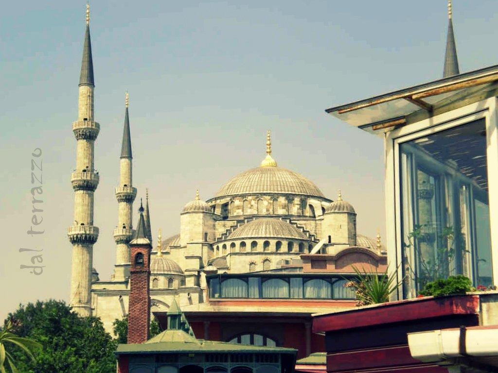 istanbul, vista dal terrazzo, moschea