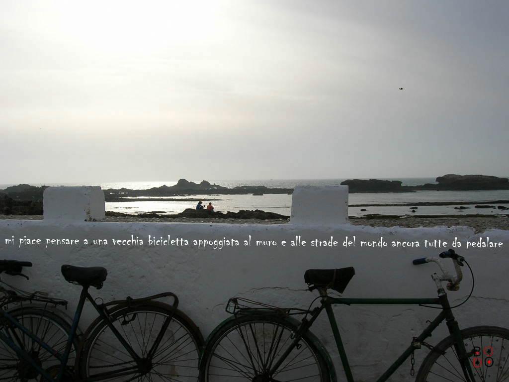 panorama con biciclette, marocco
